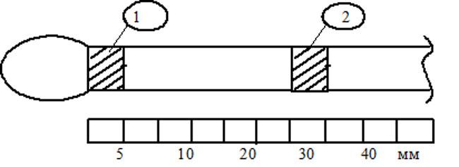 Участки провода, подвергаемые рентгеноструктурному анализу.