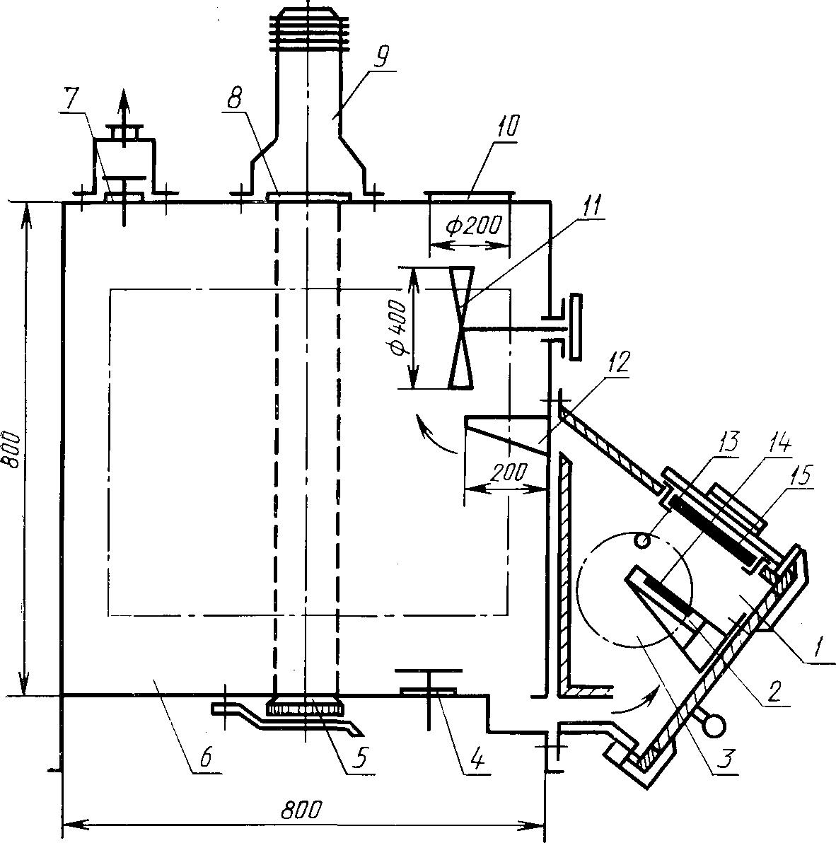 Схема установки «Дым» для определения коэффициента дымообразования твердых веществ и материалов 1 — камера сгорания; 2 — держатель образца; 3 — окно из кварцевого стекла; 4, 7 — клапаны продувки; 5— приемник света; 6 — камера измерений; 8 — кварцевое стекло; 9 — источник света; 10 — предохранительная мембрана; 11 — вентилятор; 12 — направляющий козырек; 13 — запальная горелка; 14 — вкладыш; 15 — электронагревательная панель.